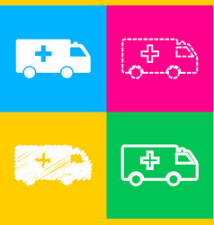 ambulance sign four styles of icon vector image