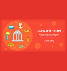 museum banner horizontal cartoon style vector image