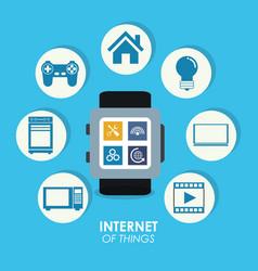 Internet of things smart watch trendy social media vector