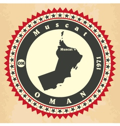Vintage label-sticker cards of oman vector