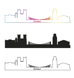 Bristol skyline linear style with rainbow vector