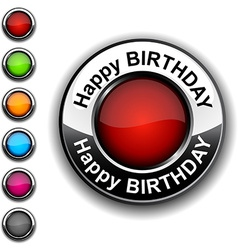 Happy birthday button vector