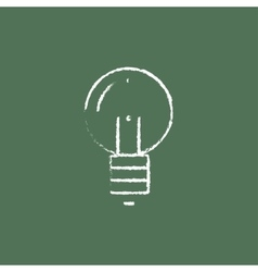 Light bulb icon drawn in chalk vector