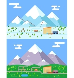 Spring summer winter seasons mountain village vector