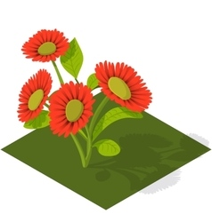 Isometric tile flowers vector