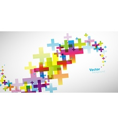 Abstract colored wallpaper with plus signs vector image