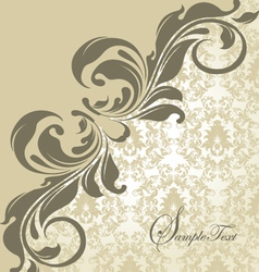 Elegant wedding damask invitation card vector