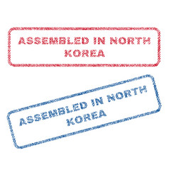 Assembled in north korea textile stamps vector