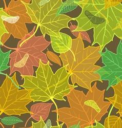 Autumn pattern with fallen leaves dark version vector