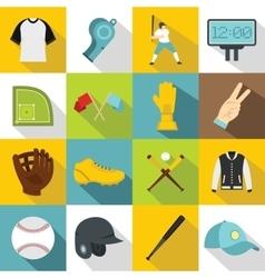 Baseball icons set flat style vector