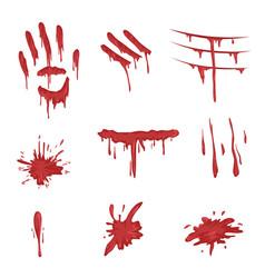 blood spatters set red palm prints finger smears vector image