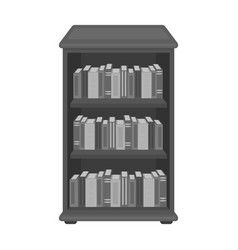 Bookcase with books icon in monochrome style vector