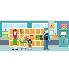 Buyers standing near storage shelf in supermarket vector