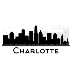 charlotte city skyline black and white silhouette vector image