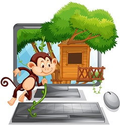 Computer screen with monkey playing at treehouse vector image vector image