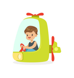 cute little boy riding on a helicopter kid have a vector image vector image