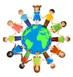 Different children standing around earth planet vector image