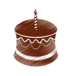drawing birthday chocolate cake candle vector image vector image