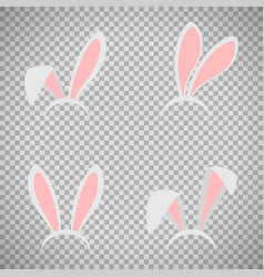 Easter bunny ears mask set vector