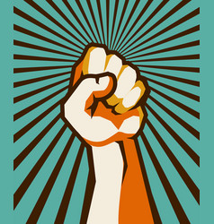 fist retro poster vector image