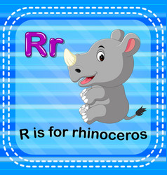 Flashcard letter r is for rhino vector