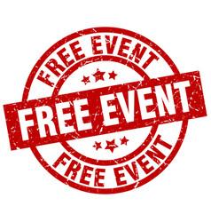 Free event round red grunge stamp vector