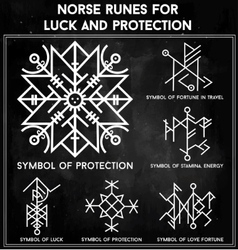 Futhark runes magic symbols set vector