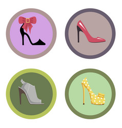 glamorous high-heeled shoes set vector image vector image