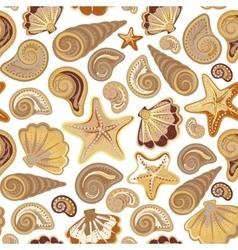 Graphic pattern with seashells sea stars hand vector