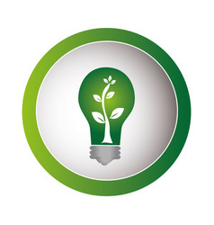 Green circular frame with eco light bulb vector