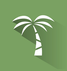 palm tree icon on a green background with shade vector image