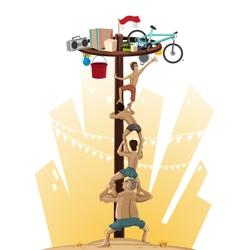 Panjat pinang pole climbing vector