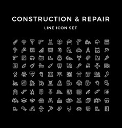set line icons of construction and repair vector image