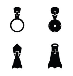 set of zippers icon vector image vector image