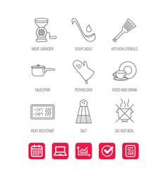 Soup ladle potholder and kitchen utensils icon vector