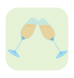 Two glasses cartoon icon vector image vector image