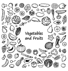 Vegetables and fruits doodle frame vector