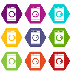 washing machine icon set color hexahedron vector image vector image