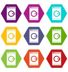 Washing machine icon set color hexahedron vector
