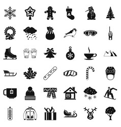 Winter clothes icons set simple style vector
