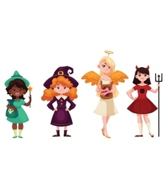 Girls dressed in witch angel demon leprechaun vector