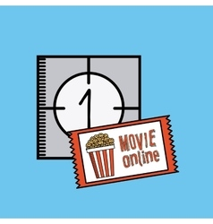 Movie online flat line icons vector