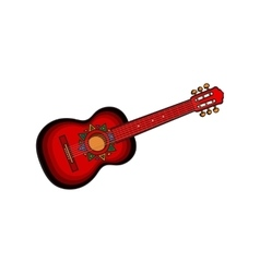 Spanish guitar with mexican aztec ornaments vector