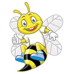 Little bee pose with thumb up vector