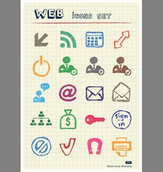 Doodle Internet and finance icons set vector image