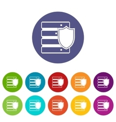 Database with shield set icons vector image
