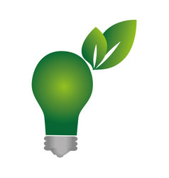 green background with eco light bulb vector image