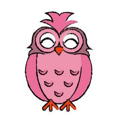 Drawing pink owl loving vector