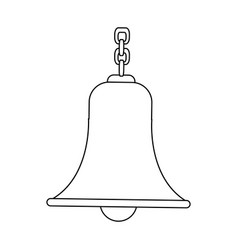 Outlined bell with chain antique traditional vector
