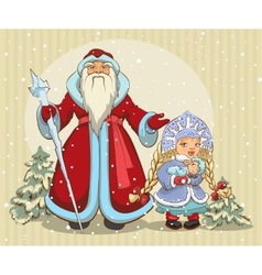 Russian santa claus grandfather frost and snow vector